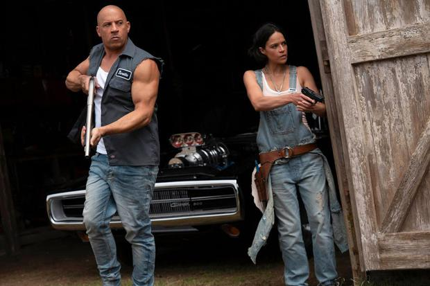 """Vin Diesel and Michelle Rodríguez in a scene from """"Fast and furious 9""""."""