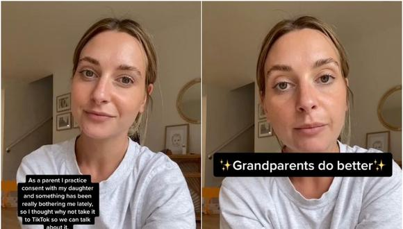 Una mujer explica por qué no deja que nadie, ni siquiera los abuelos, bese o abrace a su hija y se vuelve viral. (Foto: @brittanybaxter_x / TikTok)