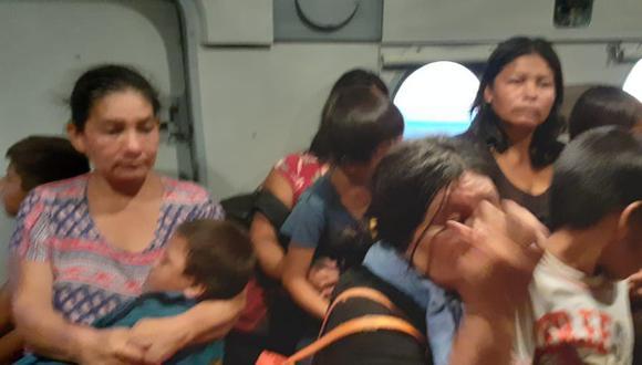 Integrantes de Comunidad Nativo Monte Salvado fue trasladada a Puerto Maldonado ante presencia de indígenas no contactados. (Foto: Gobierno Regional de Madre de Dios).