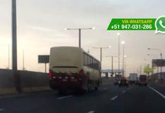 Peligrosa maniobra de chofer de bus pudo causar accidente
