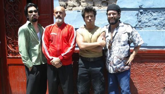 """Aldo Miyashiro (Tony Blades), Carlos Alcántara (Dragón), Pietro Sibille (Mandril) y Lucho Cáceres (Cobra); protagonistas de """"La gran sangre"""": (Foto: Consuelo Vargas / El Comercio)"""