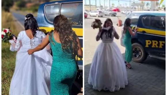 Policía salvó a novia que quedó varada en la carretera llevándola a su boda. (Foto: PRF)