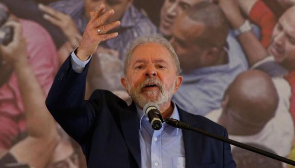 El expresidente brasileño (2003-2011) Luiz Inacio Lula da Silva, ofrece una conferencia de prensa en el edificio del sindicato de trabajadores metalúrgicos en Sao Bernardo do Campo, en el área metropolitana de Sao Paulo, Brasil. (Foto: AFP / Miguel SCHINCARIOL).