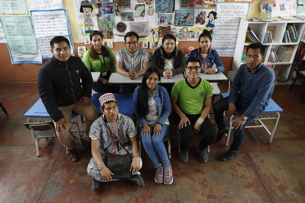 En total son 18 becarios del último ciclo de Educación Intercultural Bilingüe (EIB) de la universidad Cayetano Heredia que enseñan en este colegio. (Foto: César Campos/El Comercio)