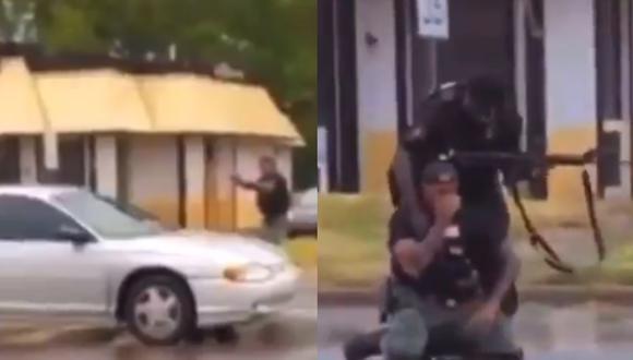 Imagen del episodio entre un policía y una joven de 19 años en Flint, Michigan (Estados Unidos). (Captura de video/Twitter).