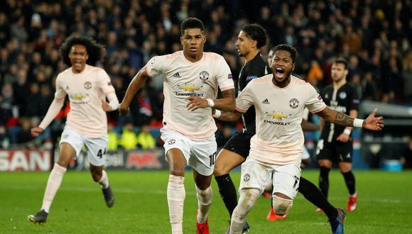 Manchester United, con agónico gol de Rashford, eliminó al PSG en París y clasificó a los cuartos de final de la Champions League. (Foto: Reuters)