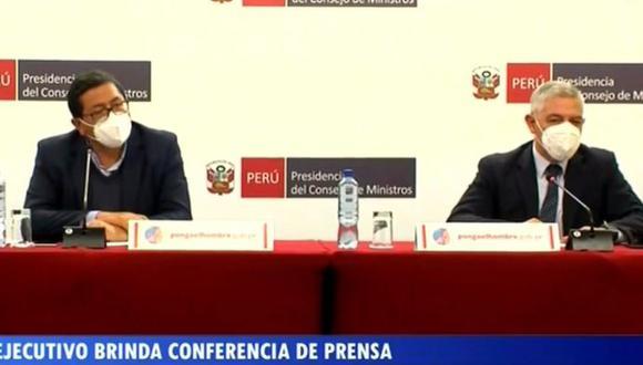 Integrantes de Gabinete Ministerial brindaron una conferencia de prensa este lunes en la sede de la PCM (Foto: PCM)