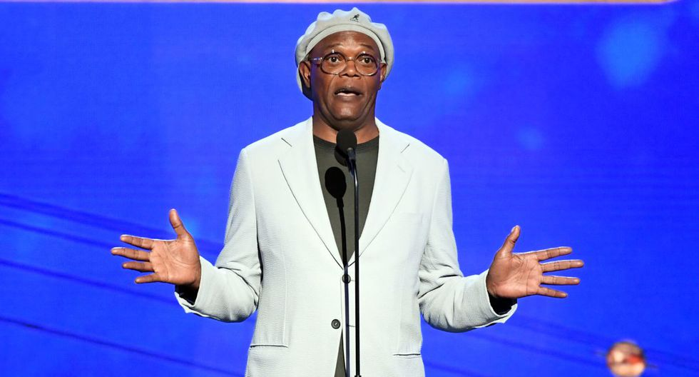SANTA MONICA, CALIFORNIA - JUNE 24: Samuel L. Jackson speaks onstage during the 2019 NBA Awards presented by Kia on TNT at Barker Hangar on June 24, 2019 in Santa Monica, California.   Kevin Winter/Getty Images for Turner Sports/AFP