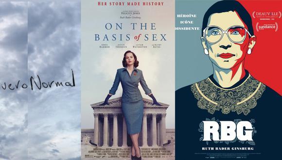 """Recomendaciones para este Martes de Cine: El cortometraje """"Nuevo Normal"""", el documental """"RBG"""" y la película """"On the basis of sex'"""". (Imágenes: Cinestesia y Filmaffinitty)"""