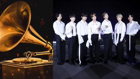 A la izquierda, la codiciada estatuilla de los Premios Grammy. A la derecha, BTS. (Fotos: AFP)