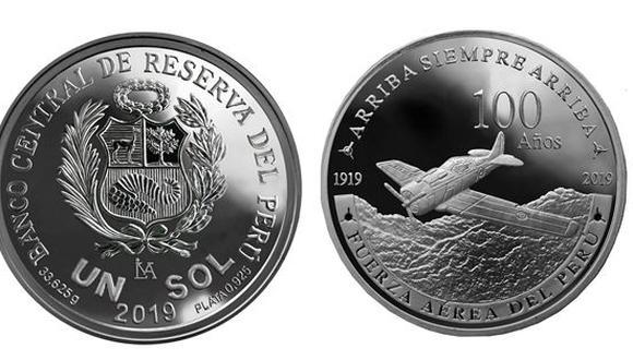 Moneda conmemorativa por los 100 años de la Fuerza Aérea del Perú. (Foto: BCR)