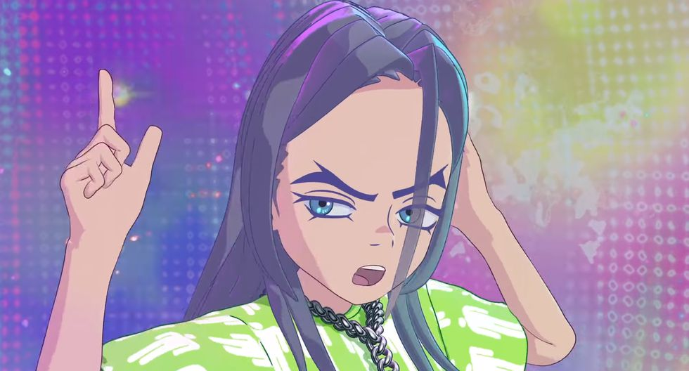 Billie Eilish convertida en un personaje de Tadashi Murakami. (Captura de YouTube)