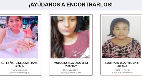 La desaparición de estas menores se dieron en las últimas 48 horas en los distritos de Lima, Ica y Chiclayo.