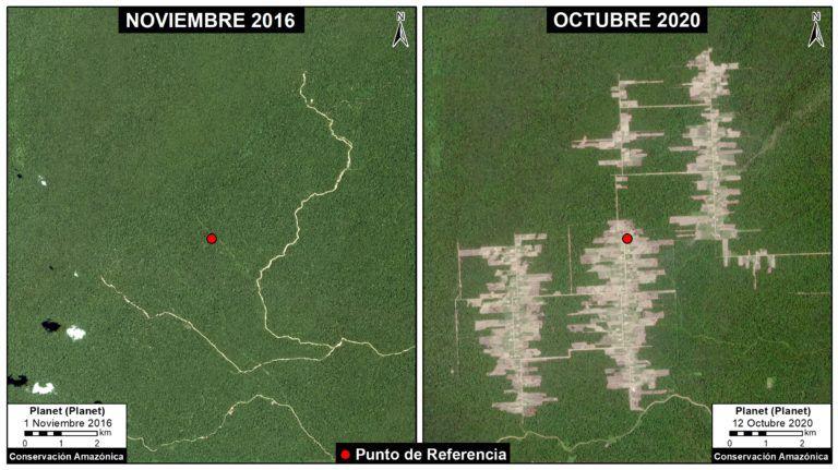 Imagen satelital que muestra el avance de la deforestación en Tierra Blanca. Fuente: MAAP.