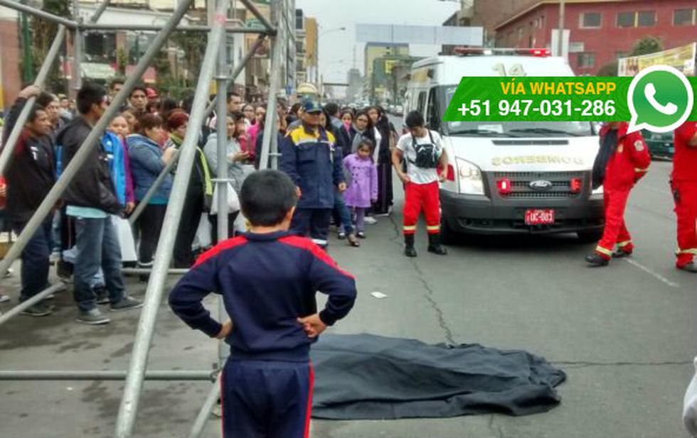Hombre murió tras caer de escenario que armaba en Breña - 1