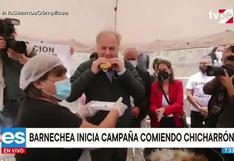 Alfredo Barnechea inicia campaña presidencial comiendo chicharrón