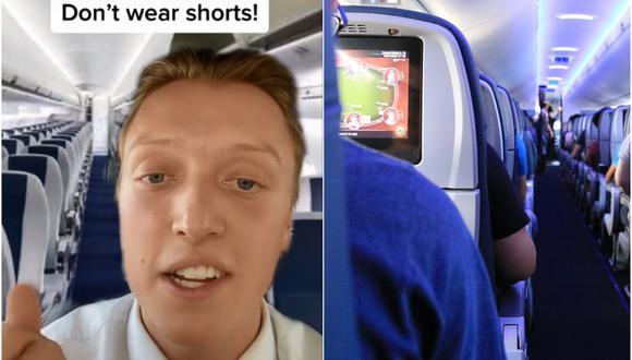 Un auxiliar de vuelo revela por qué no debes usar pantalones cortos y otros 5 tips al viajar en avión. (Foto: @tommycimato / TikTok)