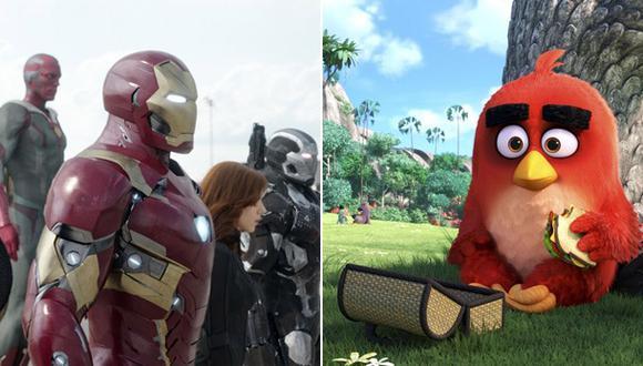 """""""Angry Birds"""" logró acabar con el liderazgo de """"Capitán América: Civil War"""" en la taquilla norteamericana. (Fotos: AP)"""