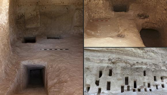 La imagen muestra las tumbas recién descubiertas en la provincia sureña de Sohag, que datan de hace unos 4.200 años. (Foto: Egyptian Ministry of Antiquities / AFP)