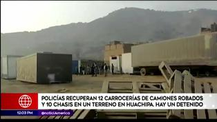 Huachipa: Policía encuentra carrocerías de camiones y chasís en terreno baldío