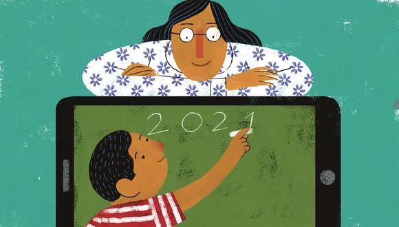 La pandemia del Covid-19 forzó a maestros, y alumnos, a integrar la tecnología a la educación de manera dramática. Ilustración: Víctor Aguilar para El Comercio.