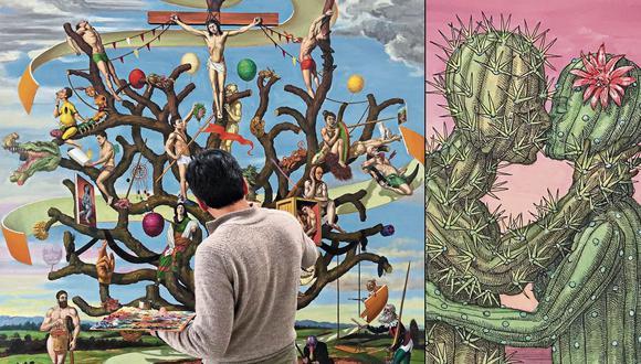 Izquierda, el artista y su obra. Hugo Salazar afina detalles de su obra principal, en torno a la cual se asocian 24 dibujos.