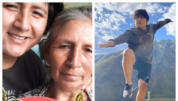 A la izquierda, Benito Osorio y su mamá Yolanda. Derecha: El tiktoker en Cusco. (Fotos: IG Sibenitoo)