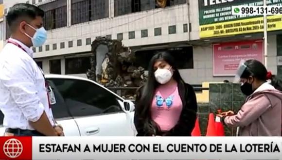 Pareja de estafadores logró engañar a joven con la modalidad del boleto ganador de la lotería, en Los Olivos   Foto: Captura: América Noticias