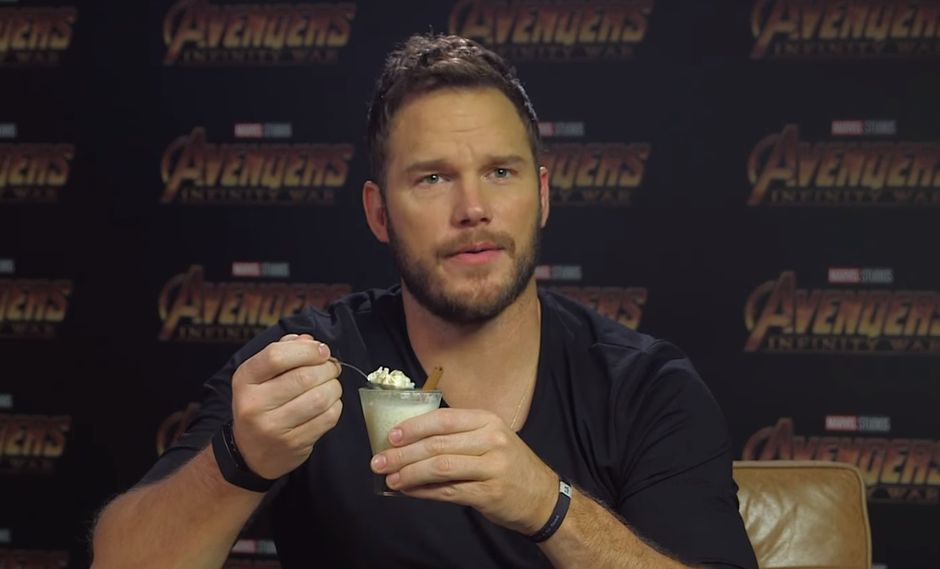 "Chris Pratt (Star Lord) probó arroz con leche para un video promocional de ""Avengers: Infinity War"". (Foto: YouTube/ Marvel)"