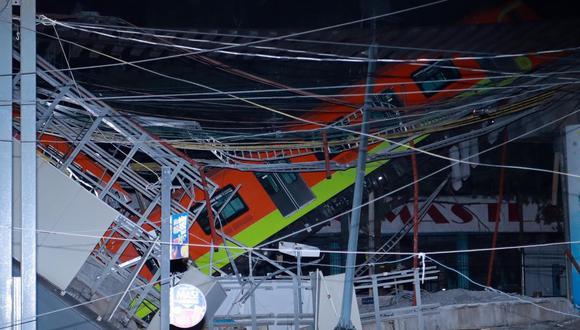 Vista general del colapso de la estructura del metro de la Ciudad de México. (EFE/ Carlos Ramírez).
