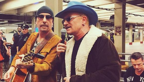 U2 cantó gratis en el metro de Nueva York