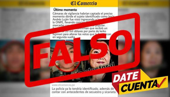 #DateCuenta. Esta publicación que simula ser de El Comercio es en realidad una noticia falsa o 'fake news'.