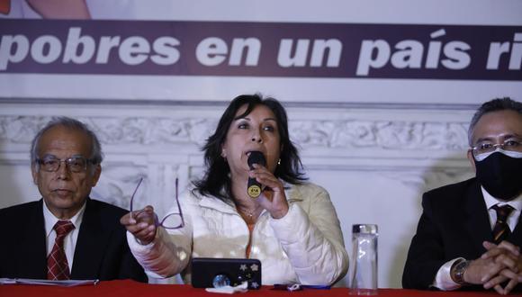 Dina Boluarte, candidata a la vicepresidencia por Perú Libre, calificó como inconstitucional el querer desconocer las elecciones. (Foto: César Bueno / @photo.gec)