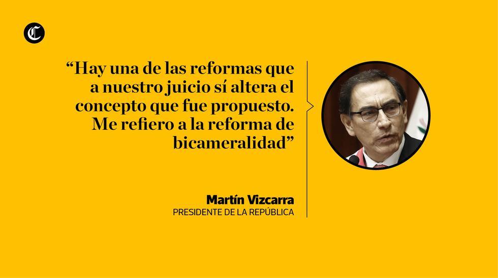 """Las frases con las que el presidente Martín Vizcarra le dijo """"no"""" a la reforma sobre la bicameralidad, pues dijo que la propuesta del Ejecutivo fue desnaturalizada por el Congreso."""