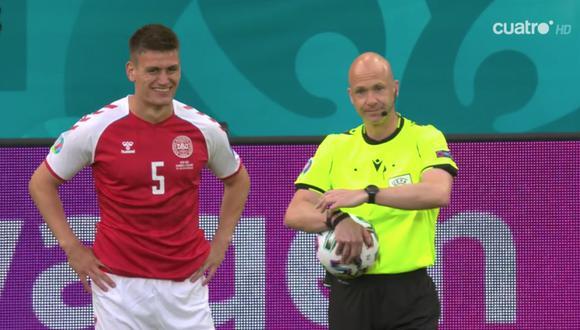 Así fue la reanudación del Dinamarca vs. Finlandia en la Eurocopa 2021.   Foto: captura Cuatro