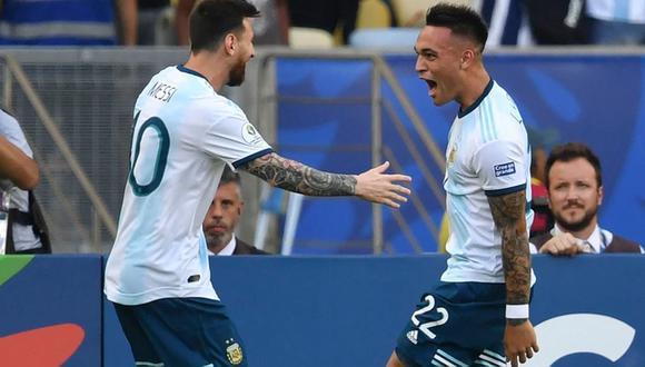 Lautaro Martínez y Lionel Messi jugaron juntos en la Copa América 2019. (Foto: AFP)