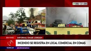 Comas: incendio se registró en el techo de una farmacia