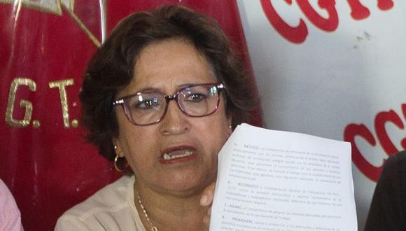 Marcela Sifuentes, presidenta de la CGTP, dijo que no apoyarán a Keiko Fujimori de ninguna manera. (Foto: Juan Ponce/El Comercio)
