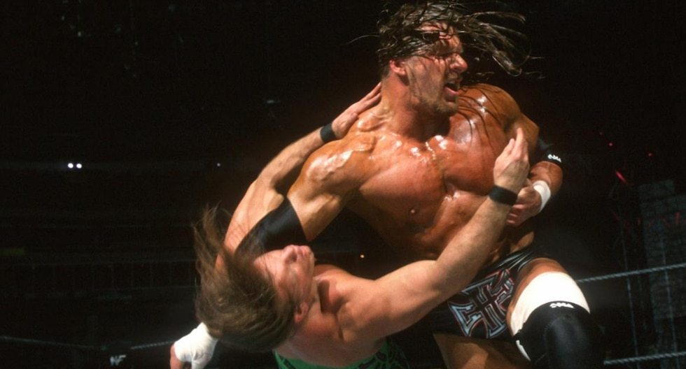 Chris Jericho vs. Triple H por el título de Campeón Indiscutible de WWE en WrestleMania X8. (Fotos: WWE.com)