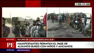 Bloqueo Panamericana Sur: manifestantes permiten el paso de buses con niños y ancianos
