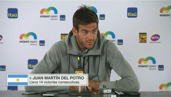 El argentino Juan Martín del Potro se mostró feliz por su racha de 14 partidos con victorias consecutivas, pero reconoció que el trajín pasa factura. (Foto: captura)
