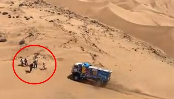 Dakar 2019: camión atropelló a espectador y es investigado | VIDEO. (Foto: Captura de pantalla)