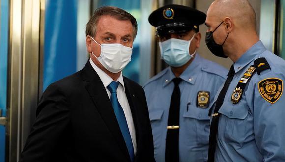 El presidente de Brasil, Jair Bolsonaro, durante la Asamblea General de la ONU en Nueva York, el 21 de septiembre de 2021. (EFE / EPA / JOHN MINCHILLO).