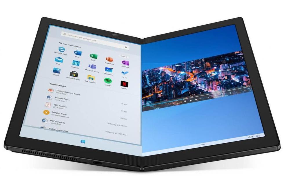 La Lenovo Thinkpad X1 Fold tiene una pantalla flexible de 13,3 pulgadas cuando está desplegada y un precio de 2500 dólares