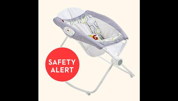 Los bebés de 3 meses o más que se encuentren echados en esta mecedora, podrían rodar y caer, lo que podría provocarles lesiones o incluso la muerte. (Foto: Fisher-Price)