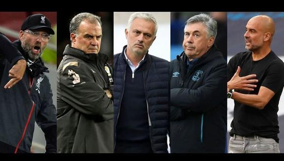 Esta temporada, en la Premier League se enfrentarán Jürgen Klopp, Marcelo Bielsa, José Mourinho, Carlo Ancelotti y Pep Guardiola. (Fotos: Agencias)
