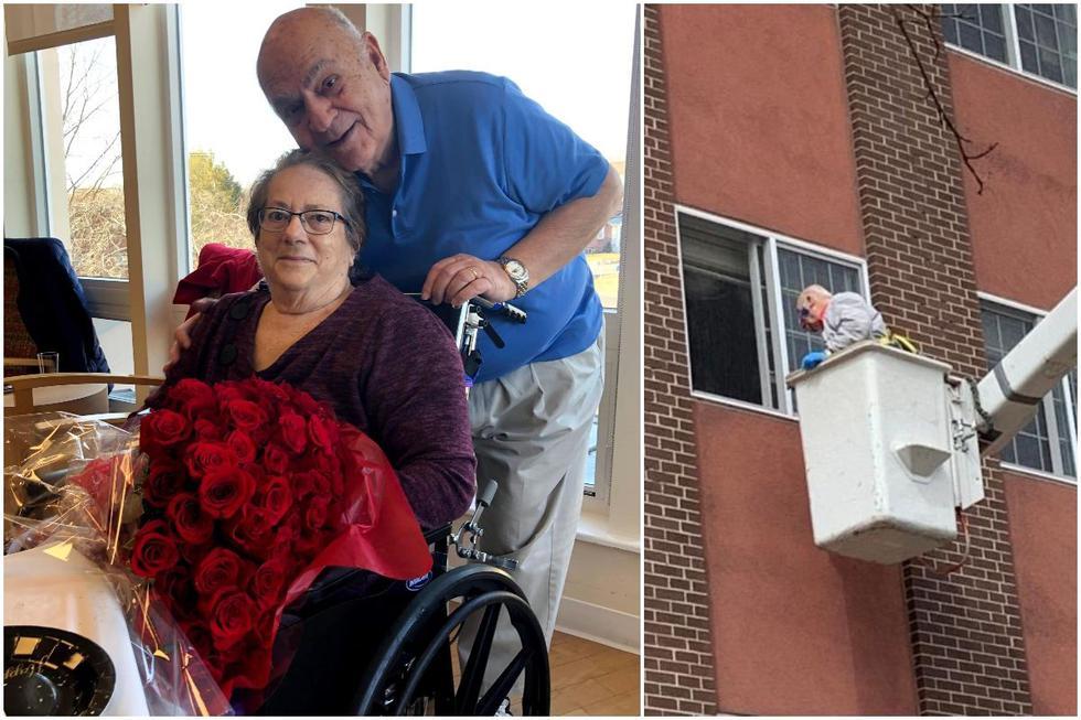 Matrimonio de 61 años es separado por coronavirus hasta que esposo comete locura de amor subido en una grúa. (Foto: Facebook)
