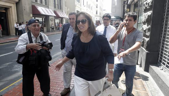 Lourdes Flores llega al Ministerio Público para declarar como testigo ante el fiscal José Domingo Pérez (Foto: GEC)