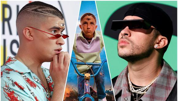 """A los extremos, Bad Bunny en los premios American Music Awards y Spotify. Al centro Adam Blasco, protagonista de los temas del disco """"YHLQMDLG"""". Fotos: Agencias/ Difusión."""