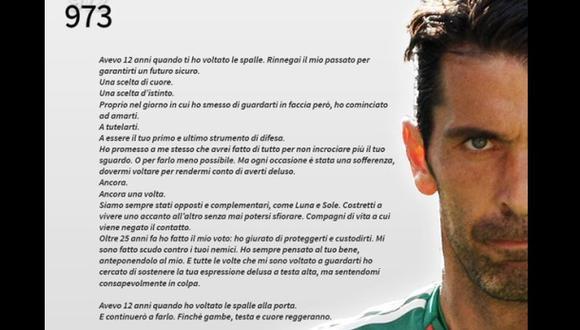 Gianluigi Buffon y la emotiva carta dedicada ¡al arco!